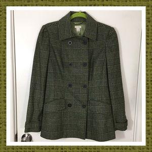 Halogen Green Wool Blend Plaid Jacket Size S